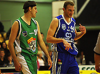 Ben Valentine and Nick Horvath during the NBL Round 14 match between the Manawatu Jets  and Wellington Saints. Arena Manawatu, Palmerston North, New Zealand on Saturday 31 May 2008. Photo: Dave Lintott / lintottphoto.co.nz