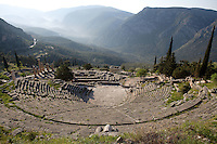 DELPHI, GREECE - APRIL 11 : A general view of the theatre, North-West edge of the temenos, overlooking the Sanctuary of Apollo and the slopes of the Mount Parnassus, on April 11, 2007 in Delphi, Greece. The theatre was built of local Parnassos limestone in the 3rd century BC. The auditorium consists of 35 rows of seats and could accomodate some 5'000 spectators. (Photo by Manuel Cohen)