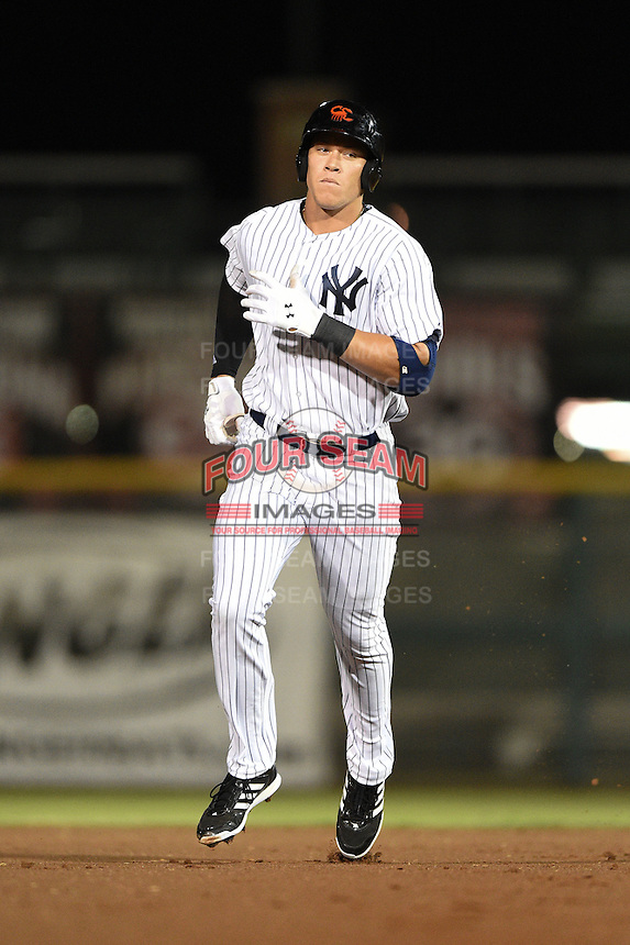 Scottsdale Scorpions outfielder Aaron Judge (47) runs the bases after hitting a home run during an Arizona Fall League game against the Surprise Saguaros on October 15, 2014 at Scottsdale Stadium in Scottsdale, Arizona.  Surprise defeated Scottsdale 13-11.  (Mike Janes/Four Seam Images)