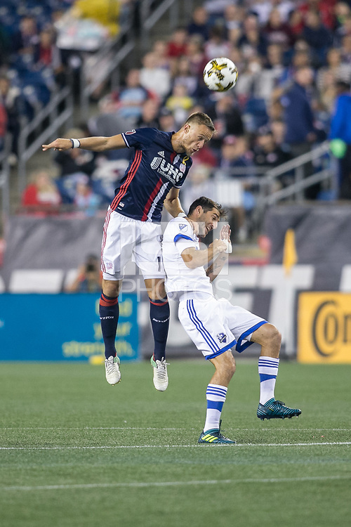 Foxborough, Massachusetts - September 9, 2017:  The New England Revolution (blue/white) beat the Montreal Impact (white/blue) 1-0 in a Major League Soccer (MLS) match at Gillette Stadium.