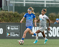 Allston, Massachusetts - May 7, 2017:  In a National Women's Soccer League (NWSL) match, North Carolina Courage (grey) defeated Boston Breakers (blue), 1-0, at Jordan Field.