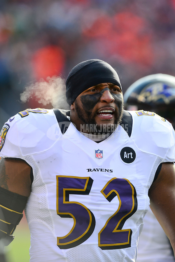 Jan 12, 2013; Denver, CO, USA; Baltimore Ravens linebacker Ray Lewis (52) prior to the game against the Denver Broncos during the AFC divisional round playoff game at Sports Authority Field.  Mandatory Credit: Mark J. Rebilas-