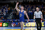 BROOKINGS, SD - FEBRUARY 11: Zach Carlson from South Dakota State University acknowledges the crowd following his win over Noah Cressell from North Dakota State University during their 184 pound match Friday night at Frost Arena in Brookings, SD. (Photo by Dave Eggen/Inertia)
