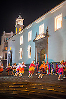 Traditional dancing outside the Historic Centre of the City of Quito, Ecuador, South America