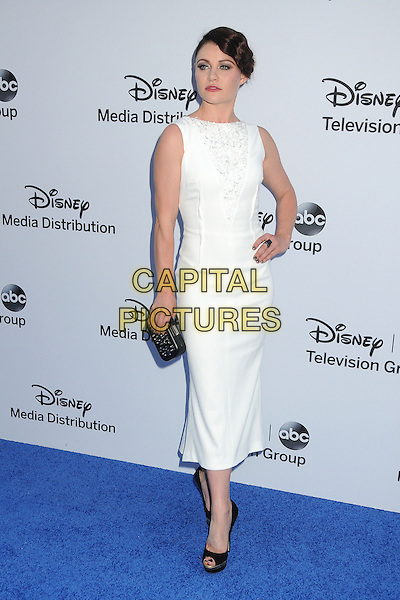Emilie de Ravin.Disney Media Networks International Upfronts 2013 held at Walt Disney Studios, Burbank, California, USA..May 19th, 2013.full length white sleeveless dress hand on hip black shoes clutch bag.CAP/ADM/BP.©Byron Purvis/AdMedia/Capital Pictures