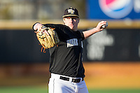 Wake Forest Demon Deacons starting pitcher John McLeod (17) in action against the Georgetown Hoyas at Wake Forest Baseball Park on February 16, 2014 in Winston-Salem, North Carolina.  The Demon Deacons defeated the Hoyas 3-2.  (Brian Westerholt/Four Seam Images)