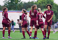 20200723, BEVEREN ,  BELGIUM : Brugge's players pictured celebrating after scoring a goal after scoring a goal during a friendly soccer game between Bosdam Beveren and Club Brugge YLA Dames  in the preparations for the coming season 2020 - 2021 of Belgian Women's SuperLeague ,23 th of July 2020  in Beveren , Belgium . PHOTO SPORTPIX.BE | SEVIL OKTEM