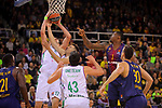 Turkish Airlines Euroleague 2017/2018.<br /> Regular Season - Round 13.<br /> FC Barcelona Lassa vs Unicaja Malaga: 83-90.<br /> Giorgi Shermadini vs Kevin Seraphin.