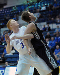 March 1, 2016 - Colorado Springs, Colorado, U.S. -   Air Force center, Frank Toohey #33, battles for rebound position during an NCAA basketball game between the Utah State University Aggies and the Air Force Academy Falcons at Clune Arena, United States Air Force Academy, Colorado Springs, Colorado.  Utah State defeats Air Force 78-65.