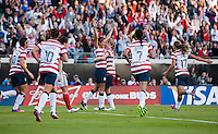 Christen Press (22) of the USWNT celebrates her goal with teammate Becky Sauerbrunn (4) during the game at EverBank Field in Jacksonville, Florida.  The USWNT defeated Scotland, 4-1.