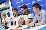 Getafe CF's players Jaime Mata (l) and Jorge Molina during the new Premium Plus Partne, Libertex, official presentation. August 9, 2019. (ALTERPHOTOS/Acero)