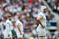 Dave Attwood of England looks on during a break in play. Old Mutual Wealth Cup International match between England and Wales on May 29, 2016 at Twickenham Stadium in London, England. Photo by: Patrick Khachfe / Onside Images