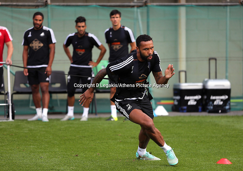 Thursday 09 July 2015<br /> Pictured: Kyle Bartley on the Run Rocket<br /> Re: Swansea City FC pre-season training at Landore training ground, Swansea, south Wales, UK.