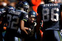 Sep 25, 2005; Seattle, WA, USA; Seattle Seahawks quarterback #8 Matt Hasselbeck in the huddle against the Arizona Cardinals in the second quarter at Qwest Field. Mandatory Credit: Photo By Mark J. Rebilas