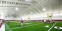 TALLAHASSEE, FLA.8/6/13-FSU080613CH-The Florida State University football team works out in their new indoor practice facility for the first time, Aug. 6, 2013 in Tallahassee, Fla.<br /> <br /> COLIN HACKLEY PHOTO