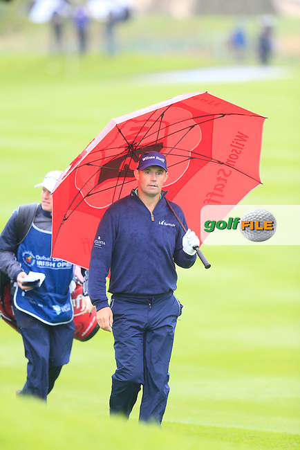 Padraig Harrington (IRL) under cover on the 17th hole during Thursday's Round 1 of the 2016 Dubai Duty Free Irish Open hosted by Rory Foundation held at the K Club, Straffan, Co.Kildare, Ireland. 19th May 2016.<br /> Picture: Eoin Clarke | Golffile<br /> <br /> <br /> All photos usage must carry mandatory copyright credit (&copy; Golffile | Eoin Clarke)