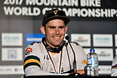 10th September 2017, Smithfield Forest, Cairns, Australia; UCI Mountain Bike World Championships;  second place Mick Hannah (AUS) riding for Polygon UR at the post race press conference for the elite mens downhill race;