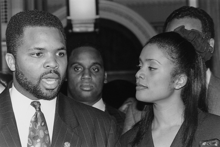 Rep. Jesse Jackson, D-Ill., with wife Sandi Jackson in December 1995. (Photo by Laura Patterson/CQ Roll Call via Getty Images)