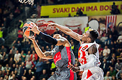 9th February 2018, Aleksandar Nikolic Hall, Belgrade, Serbia; Euroleague Basketball, Crvenz Zvezda mts Belgrade versus AX Armani Exchange Olimpia Milan; Guard Curtis Jerrells of AX Armani Exchange Olimpia Milan in action against Guard Dylan Ennis of Crvena Zvezda mts Belgrade under the basket