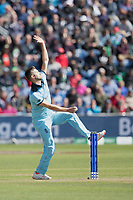 Mark Wood (England) in action during England vs Bangladesh, ICC World Cup Cricket at Sophia Gardens Cardiff on 8th June 2019