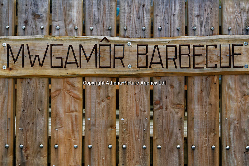 A Mwgabor Barbecue wooden sign in Aberporth