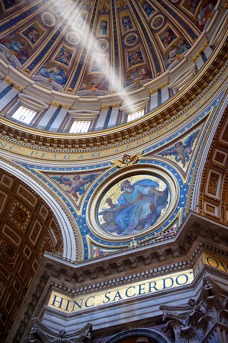 The dome interior  of St Peter's by Michelangelo , The Vatican, Rome