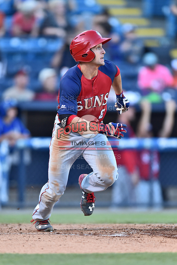 Hagerstown Suns right fielder Rhett Wiseman (8) runs to first base during a game against the Asheville Tourists at McCormick Field on June 8, 2016 in Asheville, North Carolina. The Tourists defeated the Suns 10-8. (Tony Farlow/Four Seam Images)