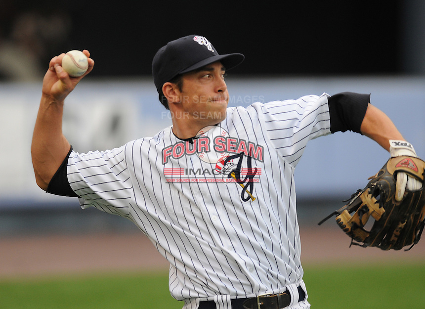 Infielder Doug Bernier (12) of the Scranton/Wilkes-Barre Yankees, International League affiliate of the New York Yankees, prior to a game against the Norfolk Tides on June 20, 2011, at PNC Park in Moosic, Pennsylvania. (Tom Priddy/Four Seam Images)