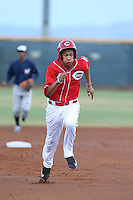 Jose Siri (4) of the AZL Reds runs the bases during a game against the AZL Brewers at Cincinnati Reds Spring Training Complex on July 5, 2015 in Goodyear, Arizona. Reds defeated the Brewers, 9-4. (Larry Goren/Four Seam Images)