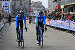 Movistar Team arrive at sign on before the 2019 Gent-Wevelgem in Flanders Fields running 252km from Deinze to Wevelgem, Belgium. 31st March 2019.<br /> Picture: Eoin Clarke | Cyclefile<br /> <br /> All photos usage must carry mandatory copyright credit (© Cyclefile | Eoin Clarke)