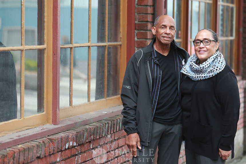 """June 8th 2017 - Seattle University alums, Gregg Alex and his wife Dora """"D"""" Krasucki photographed for Seattle University Magazine. The couple run the Matt Talbot Center, a Washington State licensed addiction treatment program that helps serve the homeless, addicted and mentally ill. The center is located in Seattle's Belltown neighborhood."""
