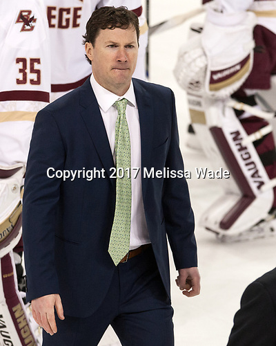 Brendan Buckley (UConn - Assistant Coach) - The Boston College Eagles defeated the visiting UConn Huskies 2-1 on Tuesday, January 24, 2017, at Kelley Rink in Conte Forum in Chestnut Hill, Massachusetts.