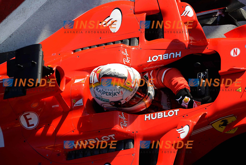 Race winner Sebastian Vettel (GER) Ferrari SF70-H celebrates in parc ferme at Formula One World Championship, Rd1, Australian Grand Prix, Race, Albert Park, Melbourne, Australia, Sunday 26 March 2017.<br /> Foto Sutton/Panoramic/Insidefoto
