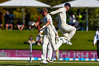 Stuart Broad takes the wicket of Kane Williamson of the Black Caps with Ben Stokes of England during the final day of the Second International Cricket Test match, New Zealand V England, Hagley Oval, Christchurch, New Zealand, 3rd April 2018.Copyright photo: John Davidson / www.photosport.nz