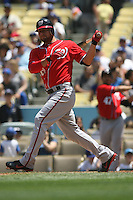 04/29/12 Los Angeles, CA: Washington Nationals catcher Jesus Flores #26 during an MLB game between the Washington Nationals and the Los Angeles Dodgers played at Dodger Stadium. The Dodgers defeated the Nationals 2-0.