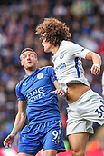 9th September 2017, King Power Stadium, Leicester, England; EPL Premier League Football, Leicester City versus Chelsea; Jamie Vardy of Leicester City and David Luiz of Chelsea compete in the air for the ball