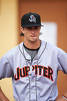 Jupiter Hammerheads relief pitcher Chris Mazza (4) before a game against the Lakeland Flying Tigers on April 14, 2016 at Henley Field in Lakeland, Florida.  Lakeland defeated Jupiter 5-0.  (Mike Janes/Four Seam Images)