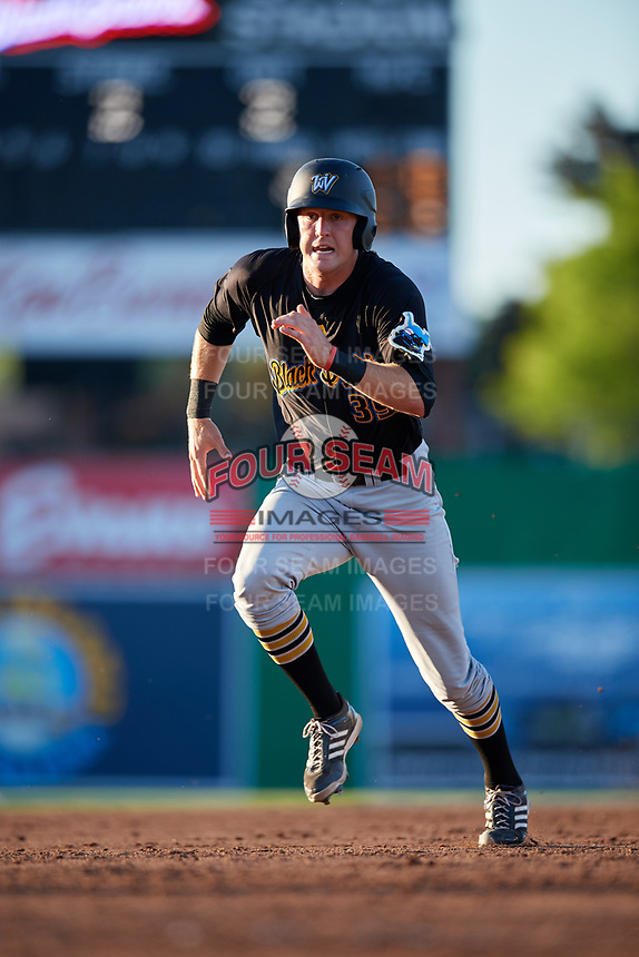 West Virginia Black Bears first baseman Luke Mangieri (39) runs the bases during a game against the Batavia Muckdogs on July 3, 2018 at Dwyer Stadium in Batavia, New York.  Batavia defeated West Virginia 5-4.  (Mike Janes/Four Seam Images)