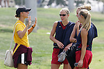 28 September 2006: Former National Team player and current Arizona State soccer coach Nancy Augustyniak (left) talks to current national teamers. The United States Women's National Team trained at the Home Depot Center in Carson, California.