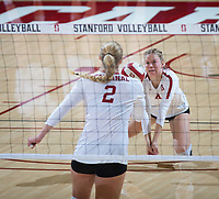 STANFORD, CA - October 12, 2018: Meghan McClure, Kathryn Plummer at Maples Pavilion. No. 2 Stanford Cardinal swept No. 21 Washington State Cougars, 25-15, 30-28, 25-12.
