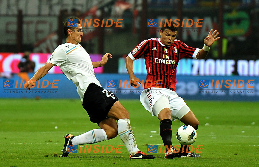 "miroslav Josef KLOSE (Lazio), THIAGO SILVA (Milan).Milano 9/9/2011 Stadio ""Giuseppe Meazza"".Serie A 2011/2012.Football Calcio Milan Vs Lazio.Foto Insidefoto Alessandro Sabattini."