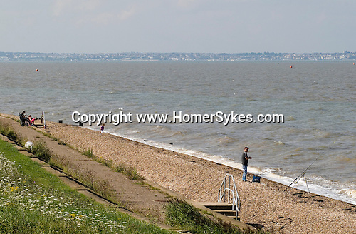 Isle of Grain, Kent Uk. Mouth of the River Thames estuary. Essex in distance.