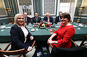 BELFAST, Jan. 13, 2020 Tánaiste Simon Coveney, Taoiseach (Irish prime minister) Leo Varadka,  British Prime Minister Boris Johnson and  meets  Northern Ireland Secretary of State Julian Smith hold the first meeting with the  Deputy First Minister Michelle O'Neill and First Minister Arlene Foster  at Parliament Buildings at Stormont, Belfast, Northern Ireland on Jan 13, 2020. (IRISH GOV POOL Photo by Paul McErlane)