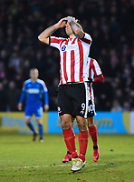 Lincoln City's Matt Rhead reacts to a missed chance<br /> <br /> Photographer Andrew Vaughan/CameraSport<br /> <br /> The EFL Sky Bet League Two - Lincoln City v Notts County - Saturday 13th January 2018 - Sincil Bank - Lincoln<br /> <br /> World Copyright &copy; 2018 CameraSport. All rights reserved. 43 Linden Ave. Countesthorpe. Leicester. England. LE8 5PG - Tel: +44 (0) 116 277 4147 - admin@camerasport.com - www.camerasport.com