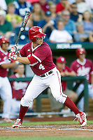 Indiana Hoosiers pinch hitter Chris Sujka (4) at bat against the Oregon State Beavers during Game 9 of the 2013 Men's College World Series  on June 19, 2013 at TD Ameritrade Park in Omaha, Nebraska. The Beavers defeated the Hoosiers 1-0, eliminating Indiana from the tournament. (Andrew Woolley/Four Seam Images)