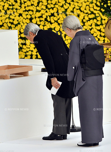 August 15, 2017, Tokyo, Japan - Japans Emperor Akihito, accompanied by Empress Michiko, attends a government-sponsored ceremony marking the 72nd anniversary of the end of World War II at Tokyos Nippon Budokan martial arts hall on Tuesday, August 15, 2017.  (Photo by Natsuki Sakai/AFLO) AYF -mis-