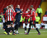 Caolan Lavery of Sheffield Utd replaces Leon Clarke of Sheffield Utd during the English League One match at Bramall Lane Stadium, Sheffield. Picture date: December 31st, 2016. Pic Simon Bellis/Sportimage