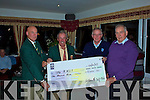 At the Charlie Chaplin Am-Am in Waterville last weekend a cheque for EUR1000 was presented to Timothy Lyons far right accepting on behalf of the R.N.L.I., making the presentation were Aidan McAuliffe Captain WGC, Mr. Vincent O'Sullivan President WGC & Eamon English Am-Am Committee.