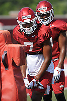 NWA Democrat-Gazette/ANDY SHUPE<br /> Arkansas receiver Trey Knox (7) lines up Tuesday, Aug. 6, 2019, during practice at the university practice field. Visit nwadg.com/photos to see more photographs from the practice.