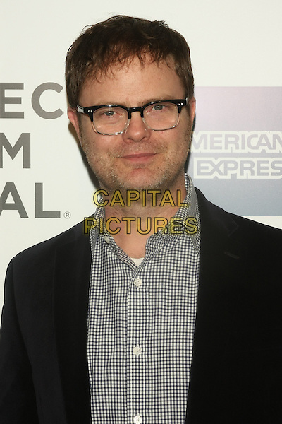 """RAINN WILSON .attends the 10th Anniversary Edition of the Tribeca Film Festival - Opening Night Gala Premiere of """"The Union"""" at the Winter Garden of the World Financial Center, New York, NY, USA, .20th April 2011..portrait headshot glasses black white gingham checked shirt jacket beard facial hai.CAP/LNC/TOM.©LNC/Capital Pictures."""